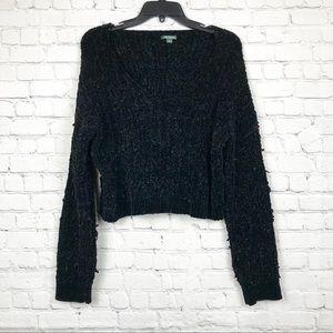 Cropped Black Knit V Neck Sweater